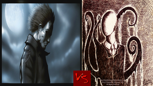 Micheal Myers VS Slenderman by DeRpYhOoVvEs