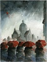 Red umbrellas and old synagogue by sanderus