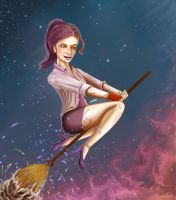 Lady on a broomstick! by Petunio