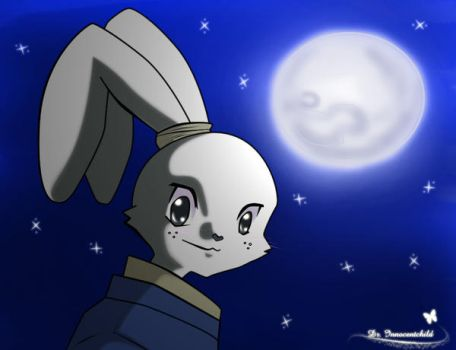 a bunny and the moon by Dr-Innocentchild