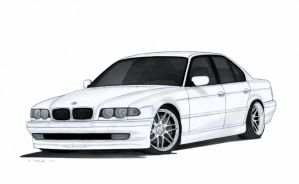 BMW 740i E38 Drawing by Vertualissimo