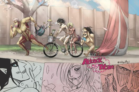 If AOT was school love comedy! -Attack on Titan by minibuddy