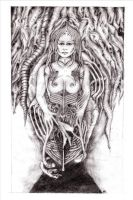 Tribute to Giger -b and w by maxine