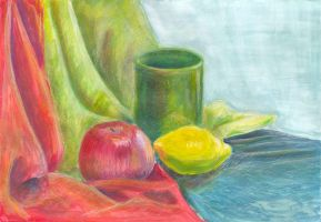 Apple, cup and lemon by jkBunny
