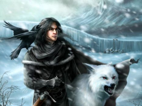 Jon and Ghost by quickreaver