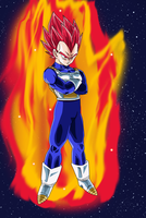 SSJ God Red Hair Vegeta by DragonBallAffinity