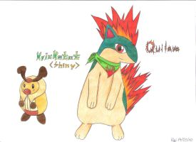 Quilava and Kricketot by Vivi-Bluefire