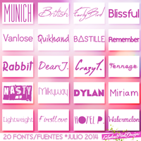 Pack 20 FONTS JULIO 2014 by FabulousPinkDesignsW