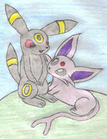 Umbreon and Espeon by 1Meh1