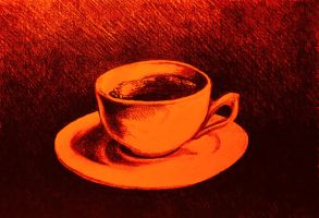 Colorful drawing of coffee cup and saucer by oanaunciuleanu