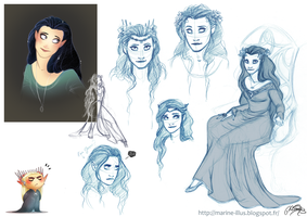 A Queen for Thranduil - sketches 2 by MarineElphie