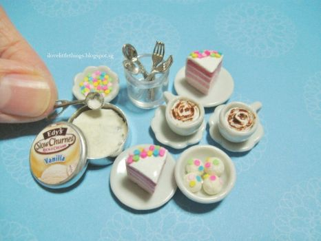 Dollhouse Miniature Cake and Ice Cream Confetti by ilovelittlethings