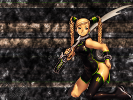 Chick with Sword Wallpaper by AdroitGFX