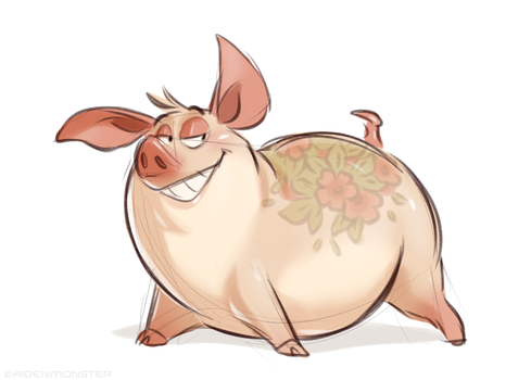 Pig with tattoo by AidenMonster