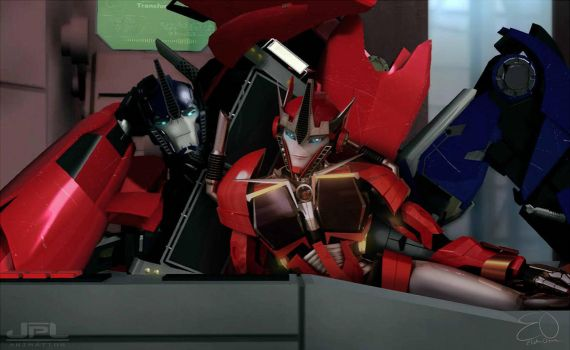 Optimus and Causeway Transformers Prime by Lady-ElitaOne-Arts