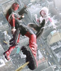 Lady Deadpool VS Spider Gwen by Cold-Tommy-Gin