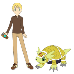 Digimon Heart Riley Lewis and Armadilomon by AndyWilliamsW