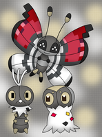 Scatterbug, Spewpa and Vivillon