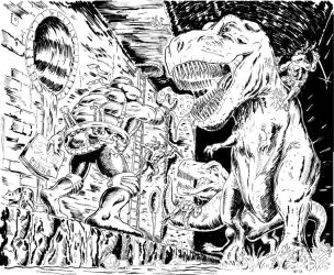 TMNT,  2 T-REX's and a Sewer by BROKENHILL