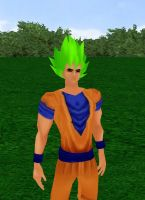Goku Super Saiyan God Green by dragonzero1980