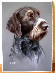 Airbrushed Wirehaired Pointer by BleedingBlack666