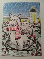Alpaca and snowowl aceo card by Pikabulbachu