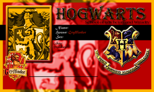 Hogwarts School Card Gryffindor Template by demonfoxnaruto
