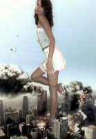 Giantess Alla's Rampage Through The City by GiantessStudios101