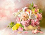 Still Life with Lilies and Lemon by IgnisFatuusII