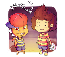 Frisk and Monster Kid Trick or Treating by Skellytune