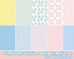 Photoshop Pastel Line and Dot Patterns by probablycrafting