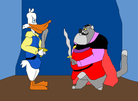 Fat Cat (as Jenner) vs Darkwing Duck (as Justin) by TomArmstrong20