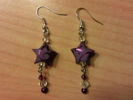 lilac paper star earrings with transparent beads by syn-O-nyms