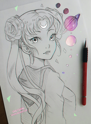 +Usagi and the Solar System+ by larienne