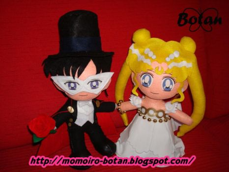 TuxedoKamen and Serenity plush by Momoiro-Botan