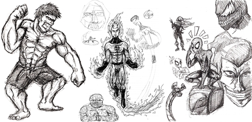 marvel sketches by castiboy