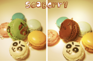 pistachio and chocolate macaroon-commission- by SteamBerry
