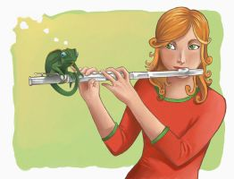 Flute and a chameleon by titta