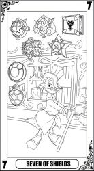 KH Tarot: Seven of Staffs (lineart) by way2thedawn
