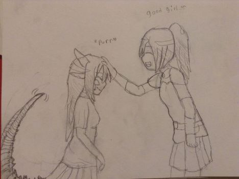 Claire petting Me~! by AquaDestroyer