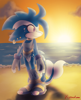Art Trade - Tallulah with the sunset by Karneolienne