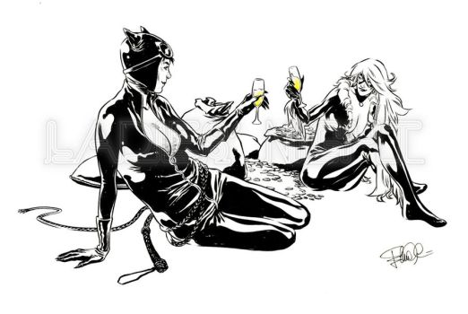 Catwoman and BlackCat - Champagne - Cheers! by elena-casagrande