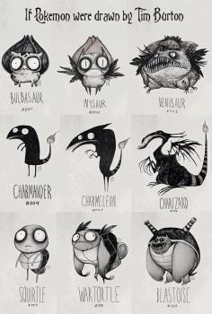 Pokemon In Tim Burton Style by RainbowStarDrops