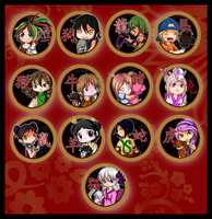 Chinese Zodiac Buttons by Lyndarsia