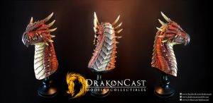 Spined Dragon bust - painted by drakoncast