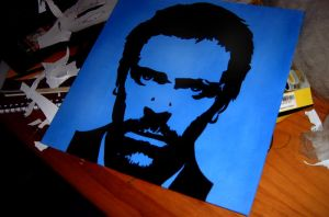 Hugh Laurie Acrylic Painting by IkilledMyElegance