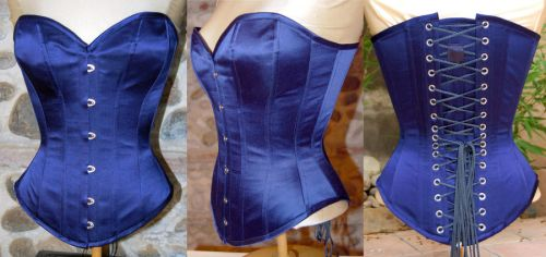 Victorian Overbust Blue silk by EikhellCorsets