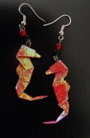 Origami Seahorse Earrings by sakuralu83