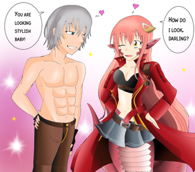 Dante and Miia dressup (Birthday Request) by Essie94