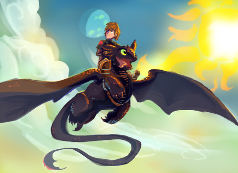 Hiccup and Toothless by Bedupolker
